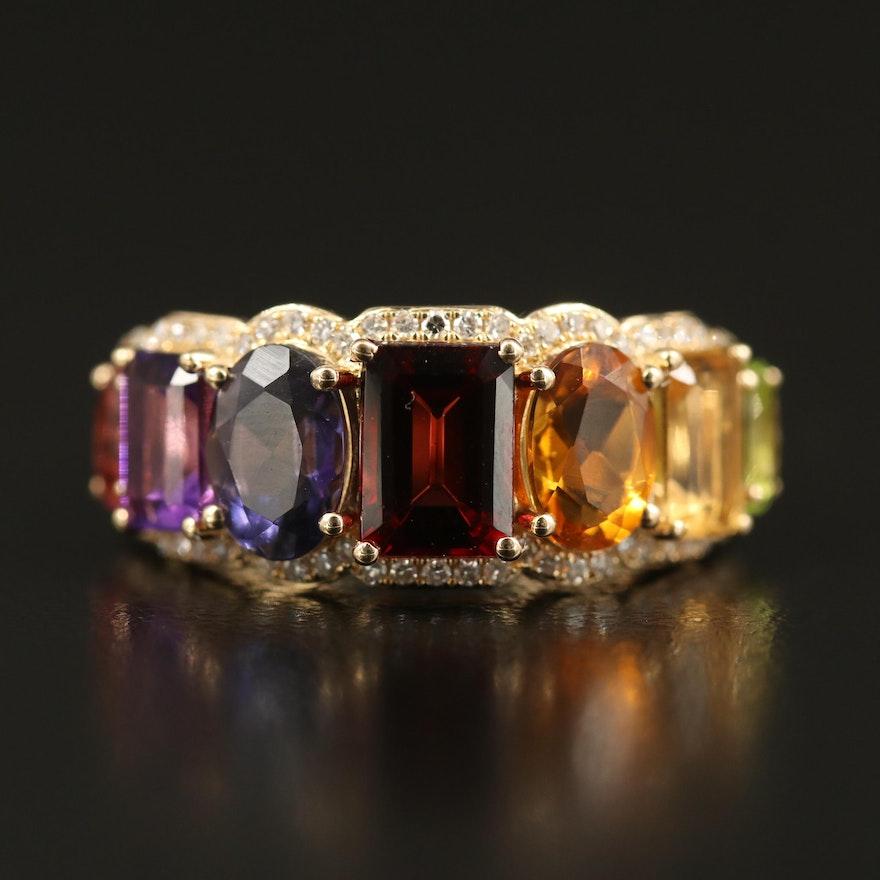 EFFY 14K Gemstone and Diamond Gradient Rainbow Ring