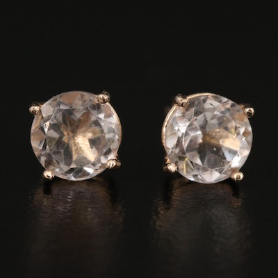 14K Quartz Stud Earrings
