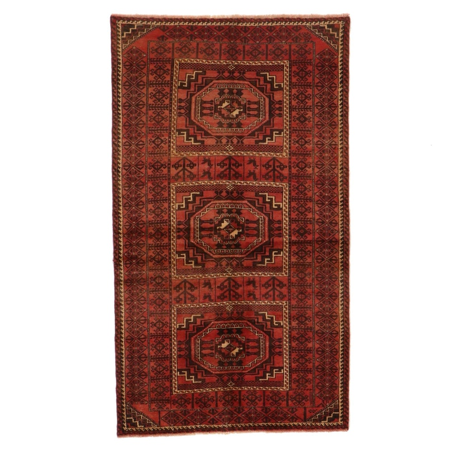 4'1 x 7'3 Hand-Knotted Afghan Turkmen Area Rug