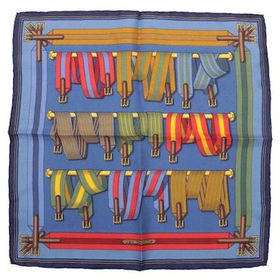 "Hermès ""Les Sangles"" Silk Twill Pocket Square"