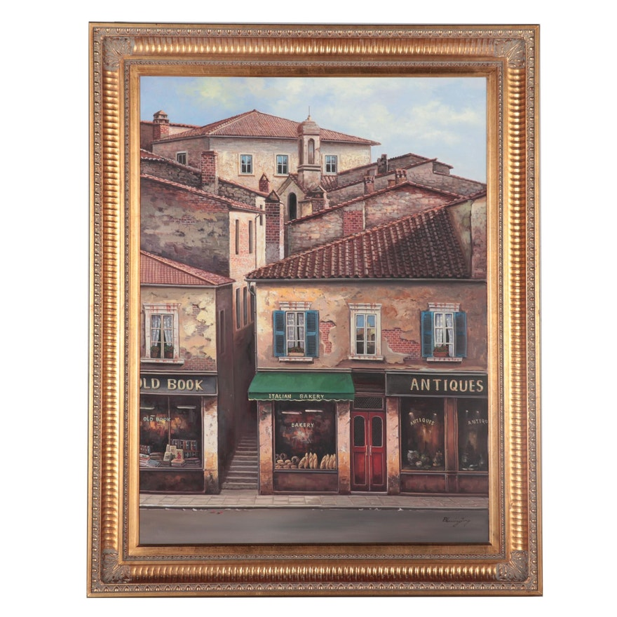 Blessing Jung Oil Painting of European Storefronts