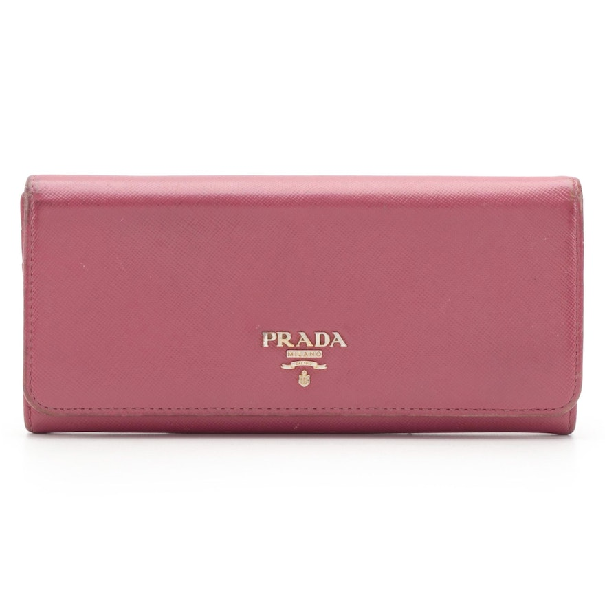 Prada Continental Wallet in Mauve Pink Saffiano Leather