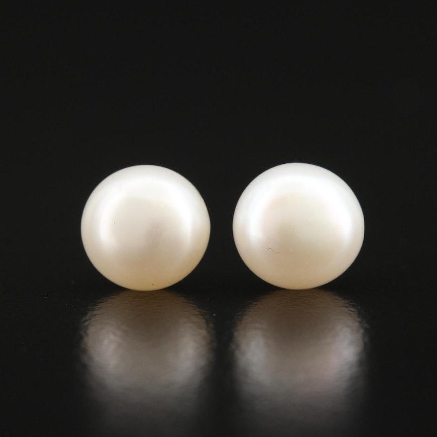 14K Button Pearl Earrings