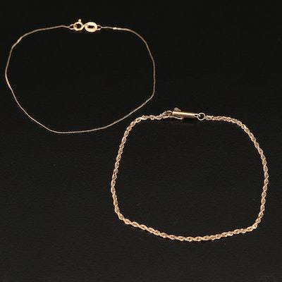 10K Rope and 14K Serpentine Link Bracelets