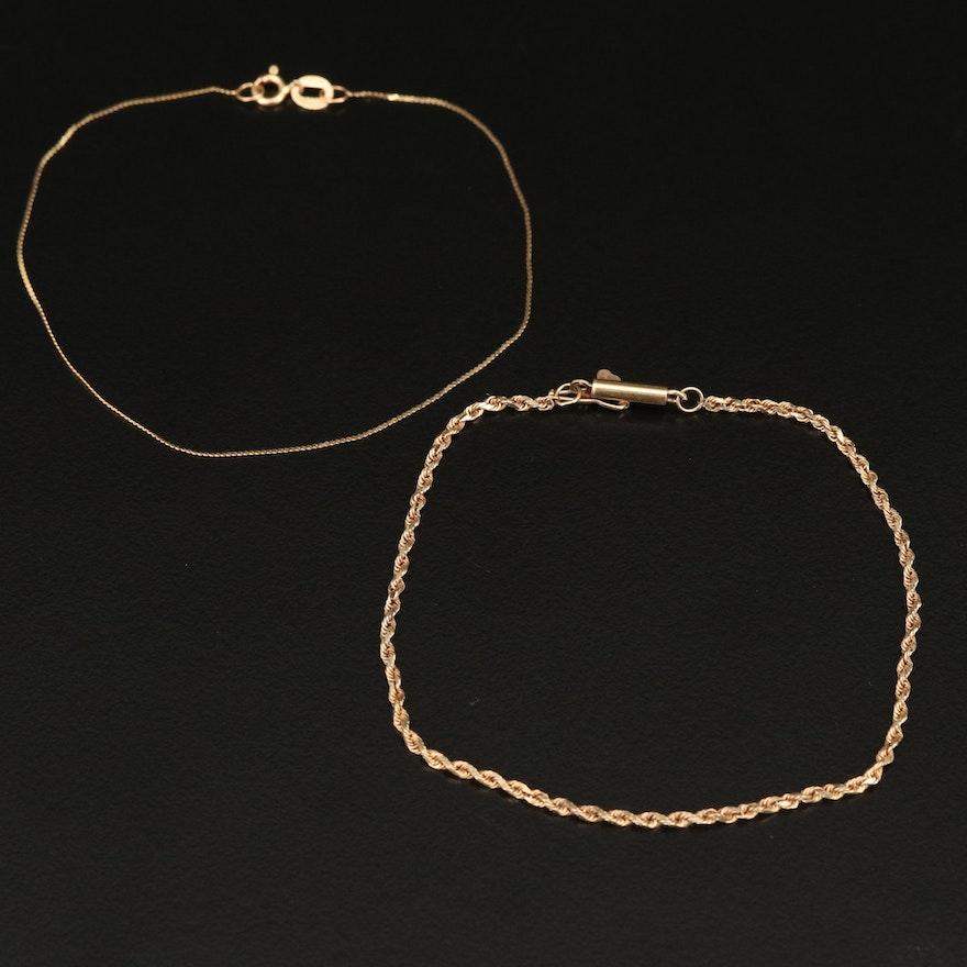 10K Rope and 14K Serpentine Link Bracelets