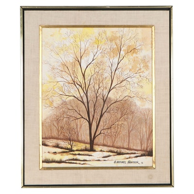 G. Michael Hancock Oil Painting of Tree, 1976