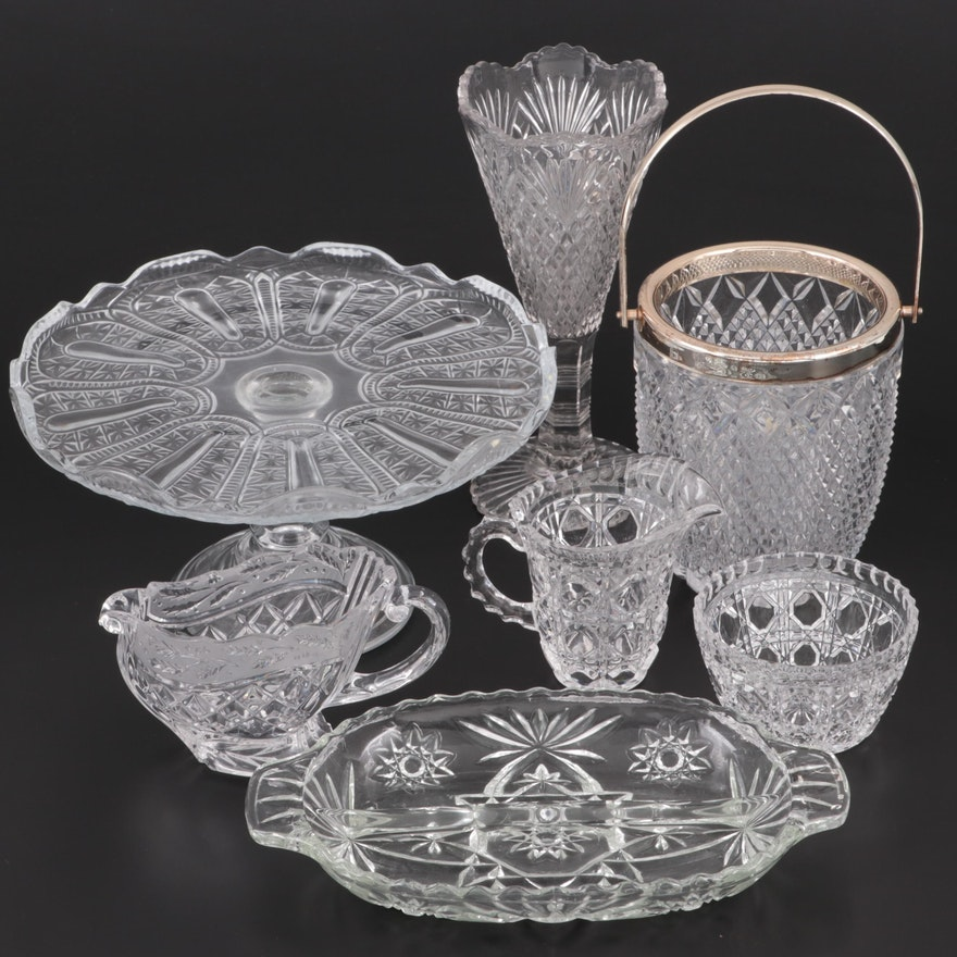 Pressed Glass Tableware Including Creamer and Sugar Set, Ice Bucket