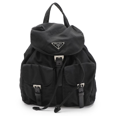 Prada Black Tessuto Nylon Drawstring Backpack with Leather Trim