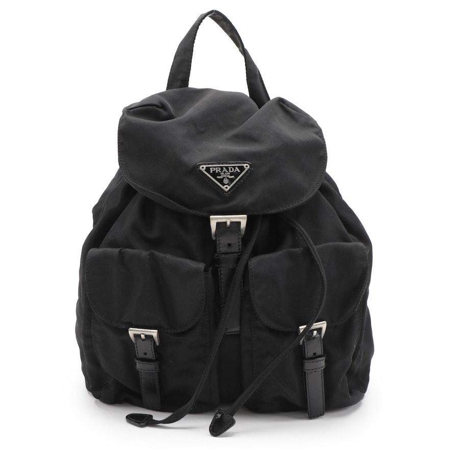 Prada Black Tessuto Nylon Drawstring Backpack with Leather Trim