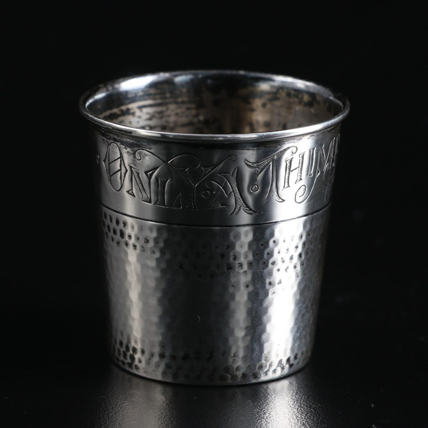 """Webster """"Only a Thimble Full"""" Sterling Silver Shot Glass"""