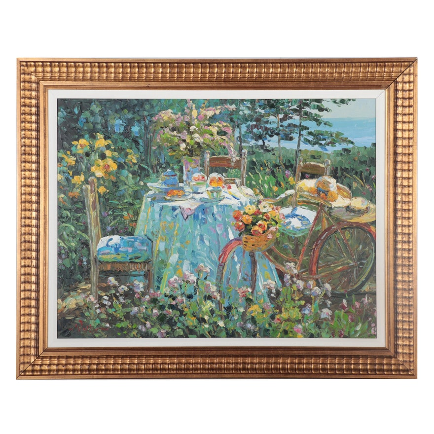 Garden Table Still Life Oil Painting, circa 2000