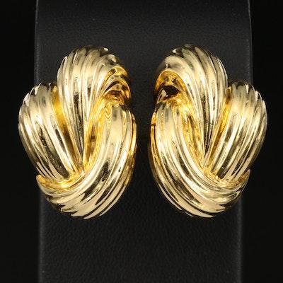 Henry Dunay 18K Fluted Earrings