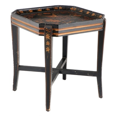 Ebonized, Parcel-Gilt, and Polychrome-Decorated Tray-Top Side Table