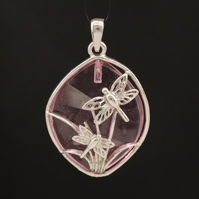 Glass Dragonfly and Folitate Pendant