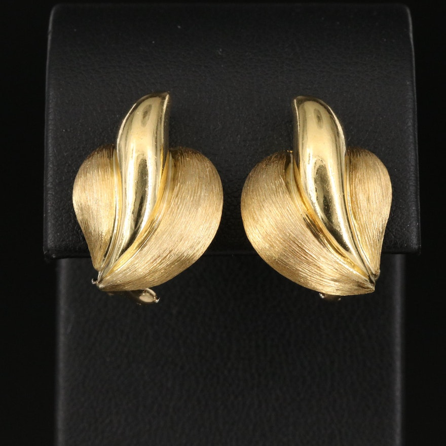 Henry Dunay 18K Fluted Earrings with Sabi Finish
