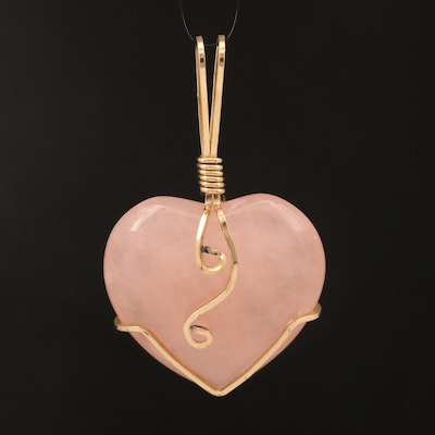 Rose Quartz Heart Slide Pendant