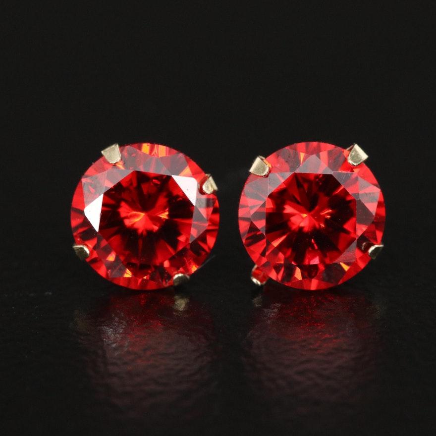 10K Martini Set Cubic Zirconia Stud Earrings