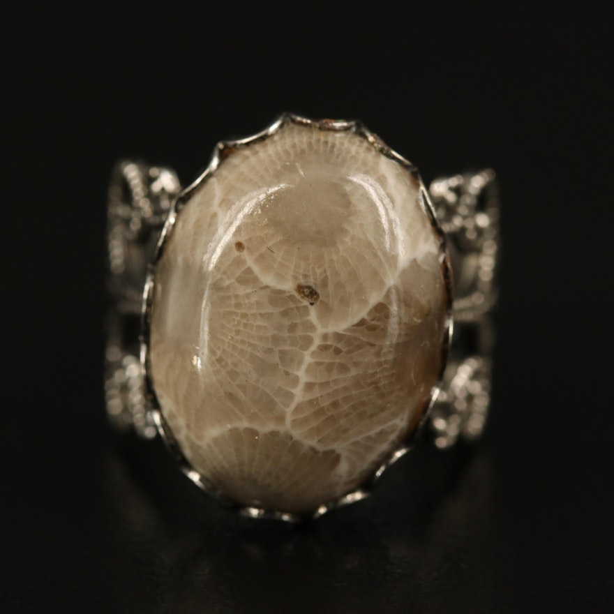 Fossilized Coral Openwork Ring