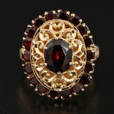 18K Garnet Openwork Ring with Halo