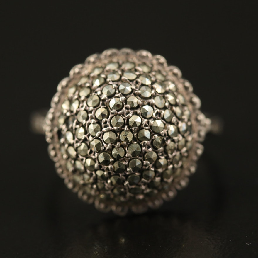 Sterling Marcasite Dome Ring