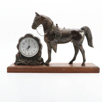 Galter Products Co. Cast Metal Horse Lincoln Mantle Clock, Mid-20th Century