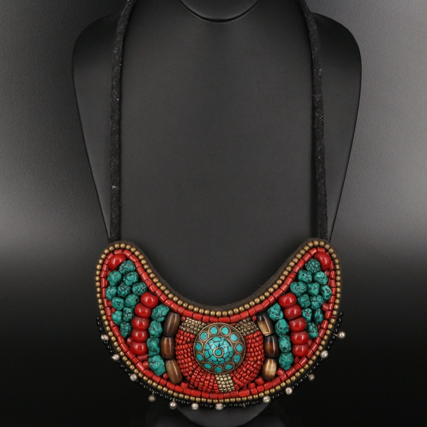Tibetan Tribal Collar Necklace Featuring Turquoise, Coral and Horn
