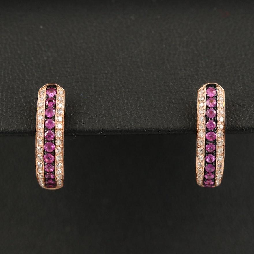 EFFY 14K Ruby and Diamond Triple Row Hoop Earrings