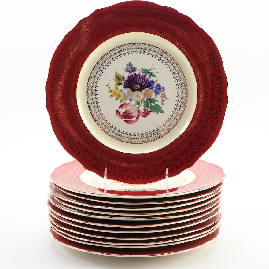 """Steubenville """"Red"""" Scalloped Edge Gilt Dinner Plates with Floral Motif"""
