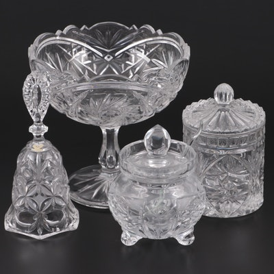 Clear Pressed Glass Compote and Other Tableware, Late 20th Century