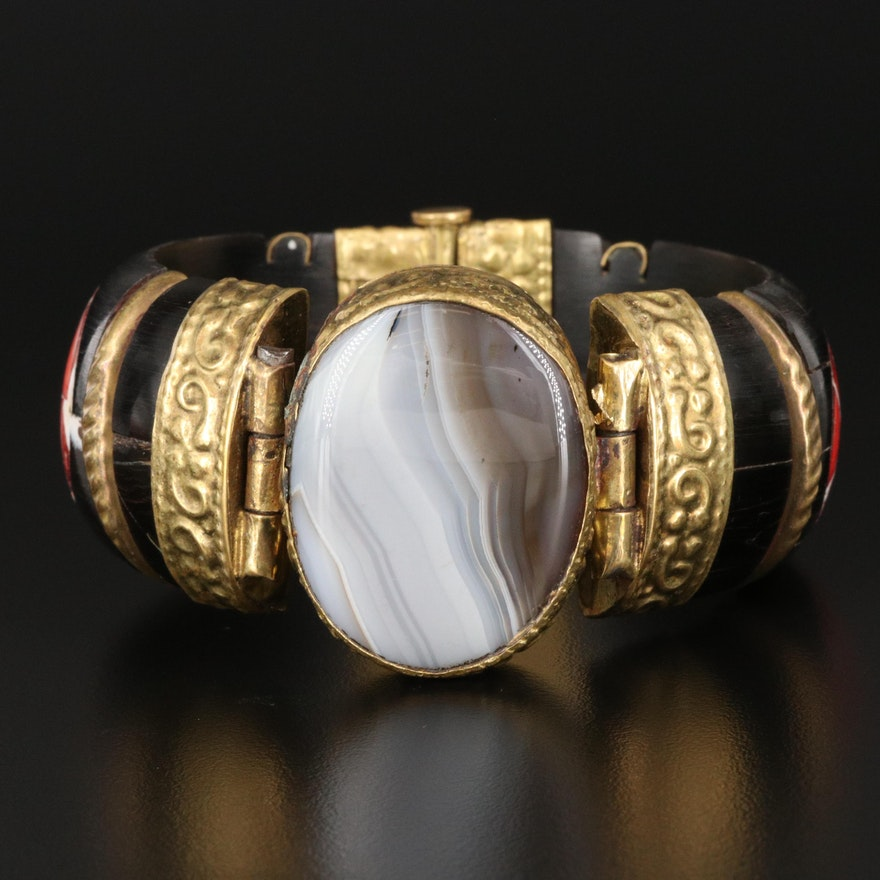 Vintage Indian Tribal Bangle Featuring Agate, Coral and Horn