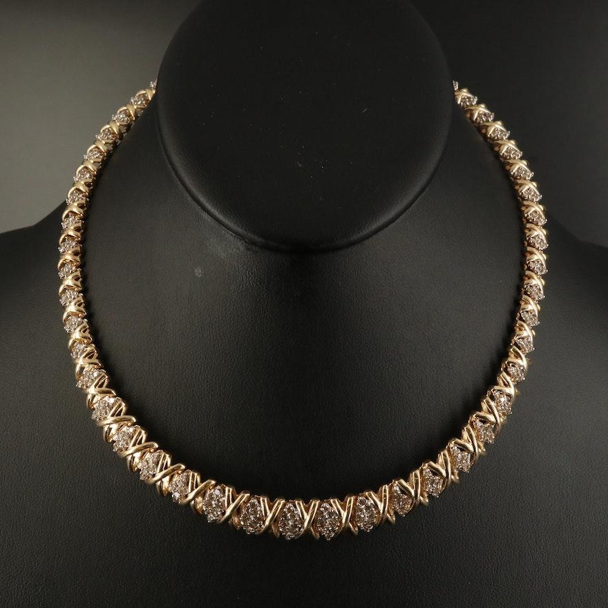 Graduated 14K 4.98 CTW Diamond Necklace
