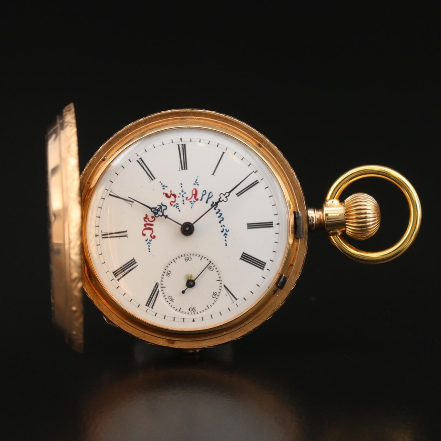 Antique Berthoud & Co. 14K Gold Hunting Case Pocket Watch