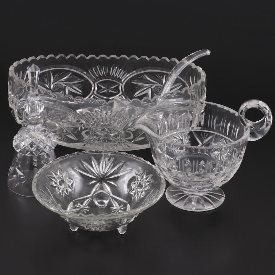 Cut and Pressed Glass Footed Creamer, Pressed Glass Bowls, Ladle and Dinner Bell