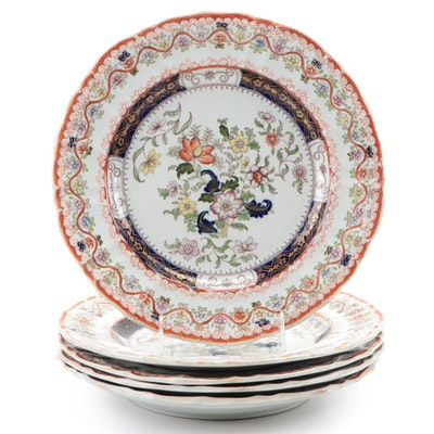 Mason's Floral Motif Ironstone Dinner Plates, Mid-19th Century