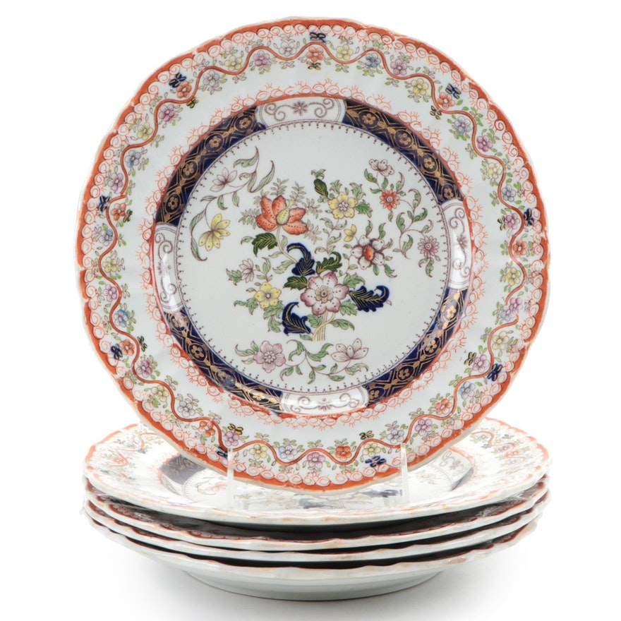Mason's Floral Motif Ironstone Dinner Plates, Mid-19th Century