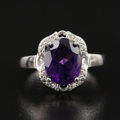 Sterling Amethyst and Diamond Ring with Cut Out Details