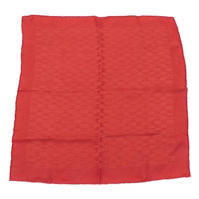 Hermès Façonnée Grand H Red Silk Pocket Square