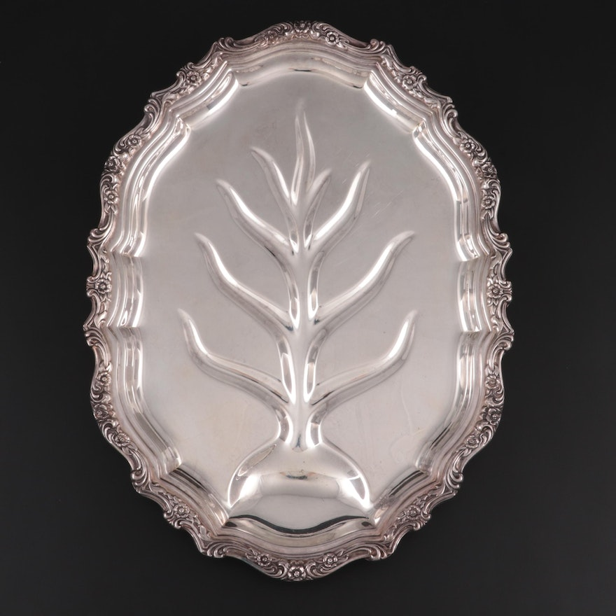 """International Silver """"Countess"""" Silver Plate Meat Platter with Tree Well"""