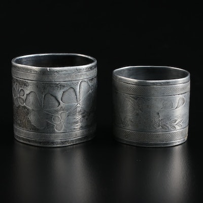 Aesthetic Movement Floral Napkin Rings, Late 19th to Early 20th Century
