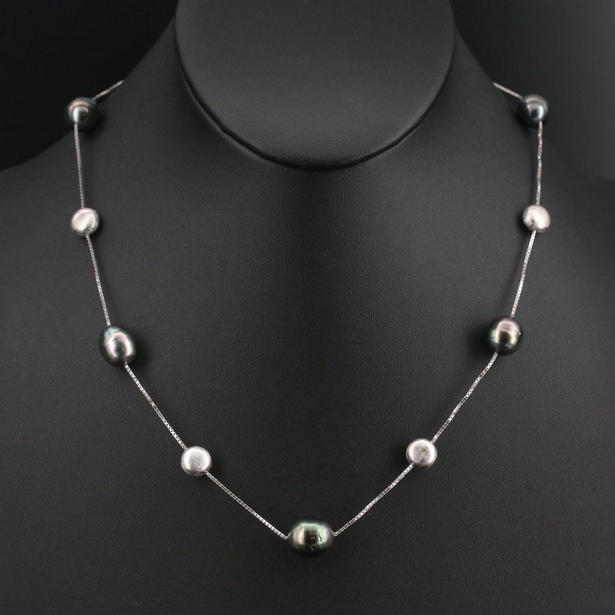 EFFY Sterling Pearl Station Necklace