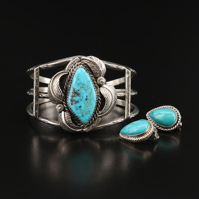 Southwestern Sterling Turquoise Cuff and Signed Earrings
