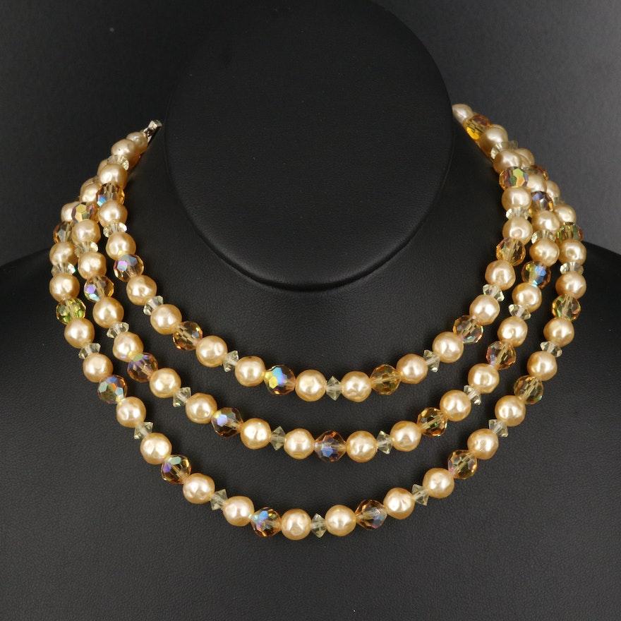 Vintage Laguna Imitation Pearl and Glass Triple Strand Necklace
