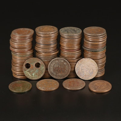 1858 Flying Eagle Cent and 118 Indian Head Cents, 1866–1908