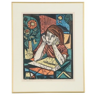 """Irving Amen Woodcut """"Day Dreamer,"""" Late 20th Century"""