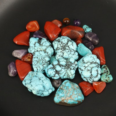 Loose Mixed Gemstones with Imitation Turquoise, Amethyst and Red Jasper