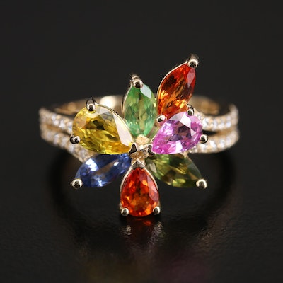 EFFY 14K Tsavorite, Sapphire and Diamond Floral Ring
