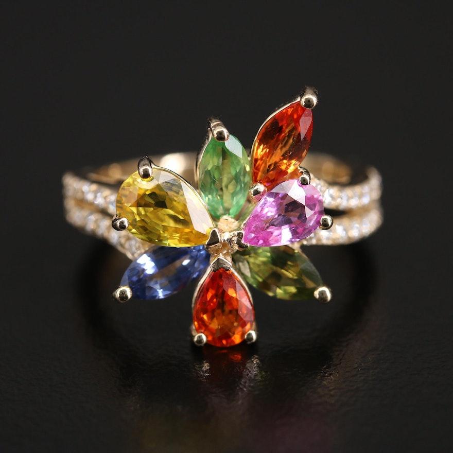 EFFY 14K Tsavorite, Sapphire and Diamond Floral Ring