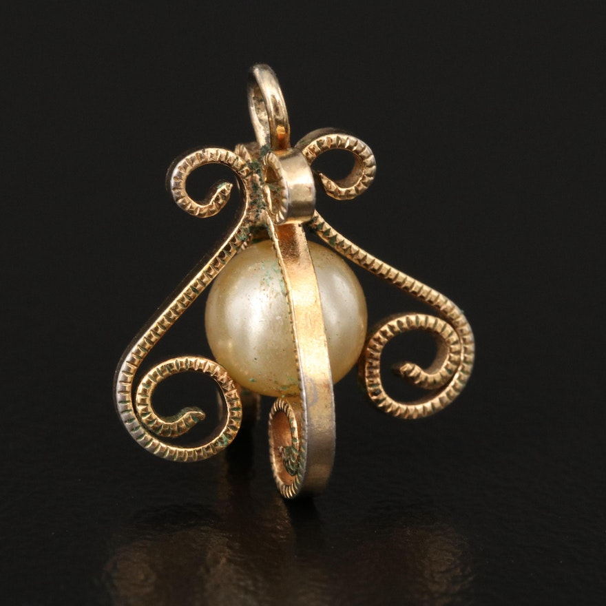 Scrollwork Pendant with Faux Pearl