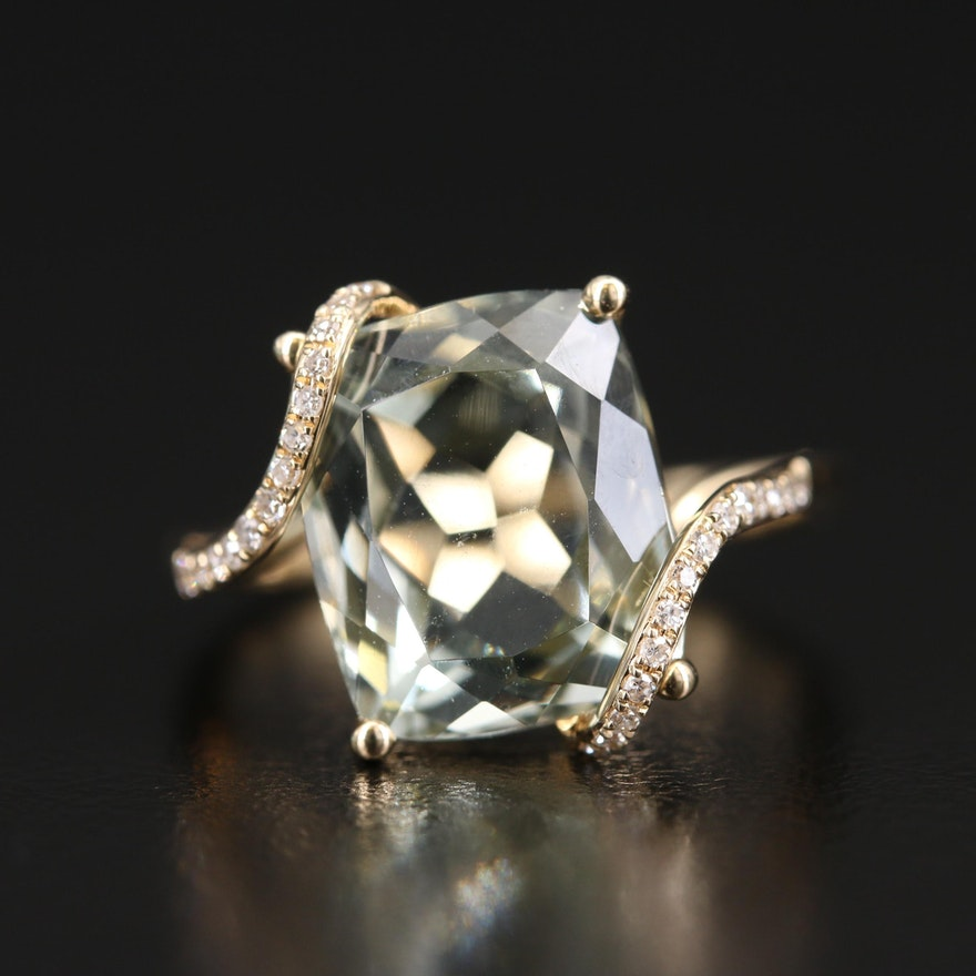EFFY 14K Prasiolite and Diamond Bypass Ring