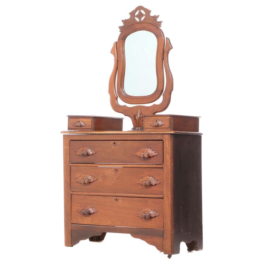 Victorian Walnut Five-Drawer Dresser, Late 19th Century